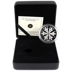 2007 Canada $20 Iridescent Crystal Snowflake Sterling Silver Coin (capsule lightly scratched & comes