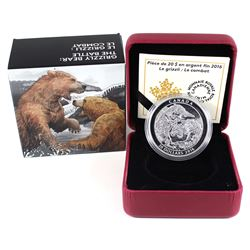 2016 Canada $20 Grizzly Bear - The Battle Fine Silver Coin (lightly toned). TAX Exempt
