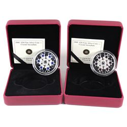 2008 Canada $20 Sapphire & Amethyst Crystal Snowflake Fine Silver Coins (Amethyst capsule is scuffed