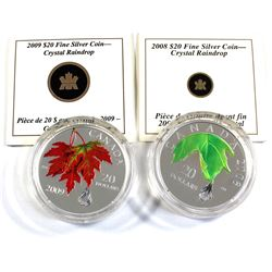 2008 & 2009 Canada $20 Crystal Raindrop Fine Silver Coins Encapsulated with COAs (capsules are light