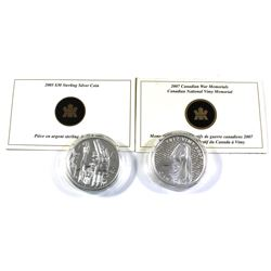 2005 & 2007 Canada $30 Sterling Silver Coins Encapsulated with COAs - 2005 Totem Pole & 2007 Nationa
