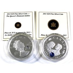 2011 & 2012 $20 Canada Fine Silver Coins Encapsulated with COAs - 2011 Prince William & Kate Middlet