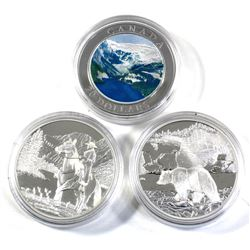 2003 & 2x 2006 Canada $20 Fine Silver Coins in Capsules - 2003 Canadian Rockies, 2006 National Parks