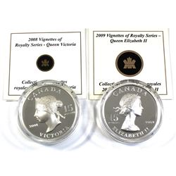 2008 & 2009 Canada $15 Vignettes of Royalty Series Sterling Silver Coins Encapsulated with COAs - 20