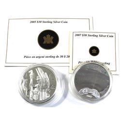 2005 & 2007 Canada $30 Sterling Silver Coins Encapsulated with COAs - 2005 Totem Pole & 2007 $30 Pan
