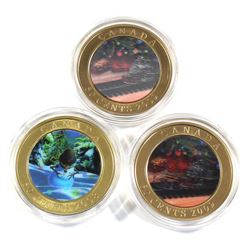 2008 & 2x 2009 Canada 50-cent Holiday Lenticular Coins in Capsules - 2008 Holiday Snowman & 2x 2009