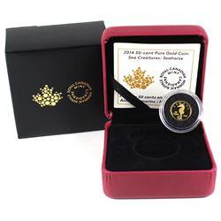 2014 Canada 50-cent Sea Creatures - Seahorse 1/25oz Fine Gold Coin (TAX Exempt).