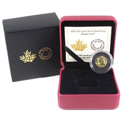 2015 Canada 50-cent Maple Leaf 1/25oz Fine Gold Coin (TAX Exempt).