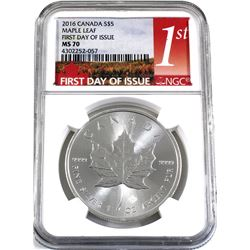 2016 Canada $5 1oz Fine Silver Maple Leaf NGC Certified MS-70 First Day Issue (a few light toning sp