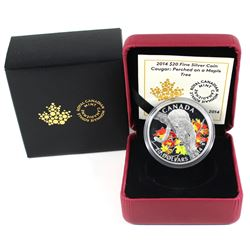 2014 Canada $20 Cougar - Perched on a Maple Tree Fine Silver Coin (capsule lightly scratched). TAX E