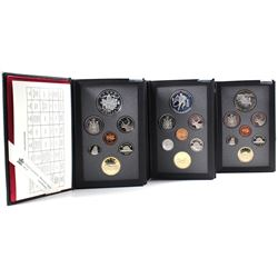 1992, 1993 & 1994 Canada 7-coin Proof Double Dollar Sets (Silver Dollars are toned). 3pcs