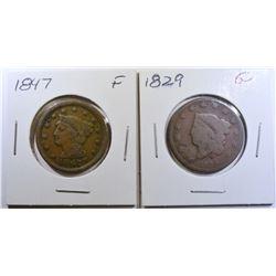 1829 GOOD, & 1847 FINE LARGE CENTS