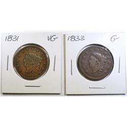 1831 VG & 33 GOOD LARGE LARGE CENTS