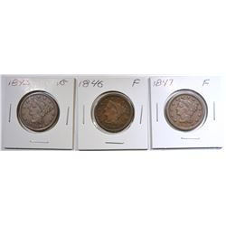 1842 VG, 46 F, 47 F LARGE CENTS