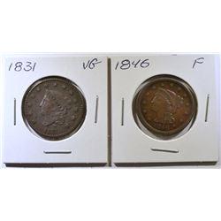 1831 VG & 1846 FINE LARGE CENTS