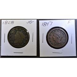 1828 VG & 1847 FINE LARGE CENTS