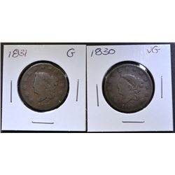 1830 VG, & 31 GOOD LARGE CENTS