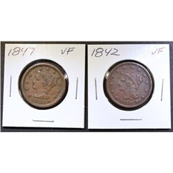 1842, & 47 LARGE CENTS VF
