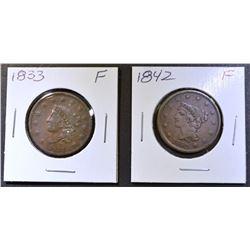 1833 & 42 LARGE CENTS FINE