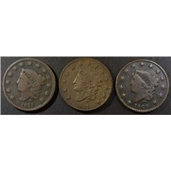 1828 & 2 1831 LARGE CENTS VG
