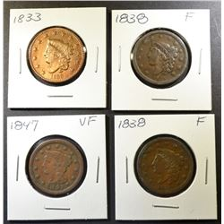 1833 VF CLEANED, 2 1838 FINE, 1847 VF LARGE CENTS