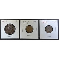 1837 LARGE CENT F, 1859 & 62 INDIAN CENTS VF
