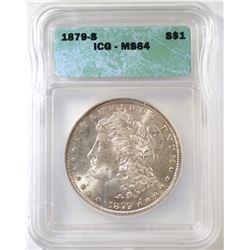 1879-S MORGAN DOLLAR, ICG MS-64