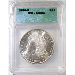 1880-S  MORGAN DOLLAR, ICG MS-64
