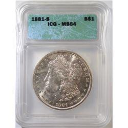 1881-S MORGAN DOLLAR, ICG MS-64