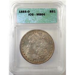 1885-O MORGAN DOLLAR, ICG MS-64