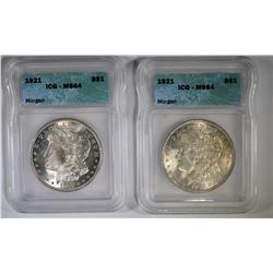 2-1921 MORGAN DOLLARS, ICG MS-64