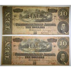 2-1864 $10 CONFEDERATE NOTES