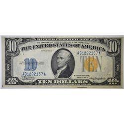 1934 A NORTH AFRICA $10 SILVER CERTIFICATE XF