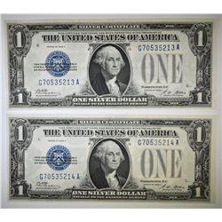 2 1928 A $1 FUNNY BACK SILVER CERTIFICATES CU