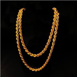 """Mens 33"""" Twisted Braid Link 14k Gold Necklace"""