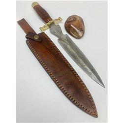"15 1/2"" Brass & Wooden Handled Damascus Shive Sword"