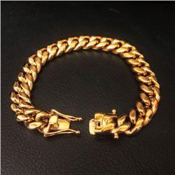 Mens 18KT Gold Cuban Link Bracelet