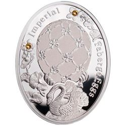"""2012 Poland Mint """"Swan Egg"""" Imperial Faberge Egg - Proof Silver Coin w/ Swarovski Crystals"""