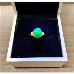 Genuine Hand Polished Jade Stone Mounted In 14K (585) Gold Setting With 8 Set Diamonds