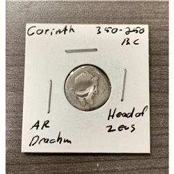 350-250 B.C. Corinth Head of Zeus Silver Drachm