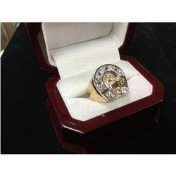 Men's 14K Gold Championship Custom Designed Horse Racing Ring with 1.75ct Diamonds