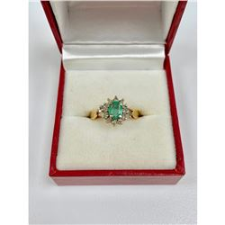 B & G Marked - One of a Kind Ladies Size 7 14k Gold, Emerald and Diamond Ring
