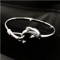 Ladies 925 Sterling Silver Dolphin Bangle
