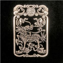 Exquisite Chinese Tibetan Silver Hand Carved Foodog Pendant