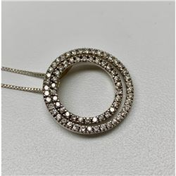 Italian Cuban Link Sterling Silver 925 Necklace With Double Circle Mounted Pendant