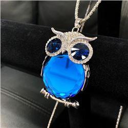 Semi-Precious Blue Stone Owl Pendant Cuban Chain