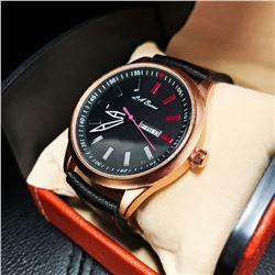 Womens L.A. Banus Matte Black Dial Genuine Leather Band Watch