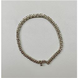 "Sterling Silver ""38 Fine Cushion Cut Crystal"" Ladies Bracelet"