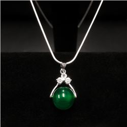 Sterling Silver 925 Necklace With Green Jade Sphere Pendant