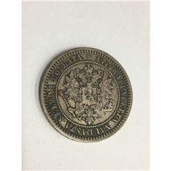 1870 Finland (Russian Occupied) 2 Markka- 86.8% Silver Beauty Old Silver Coin